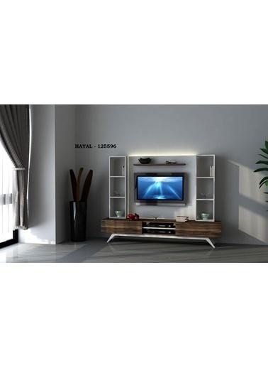 Sanal Mobilya Hayal 125596 Tv Ünitesi Leon Ceviz/Parlak Beyaz Beyaz
